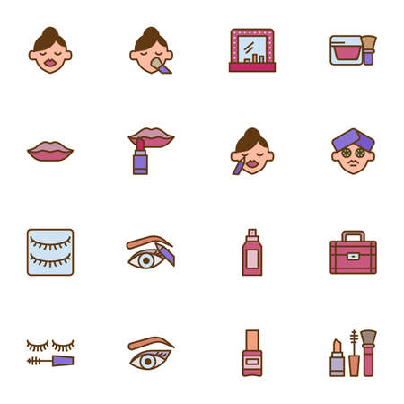 Cosmetic and beauty filled outline icons set, make-up line vector symbol collection, linear colorful pictogram pack. Signs, logo illustration, Set includes icons as woman face, mirror, lipstick, nail