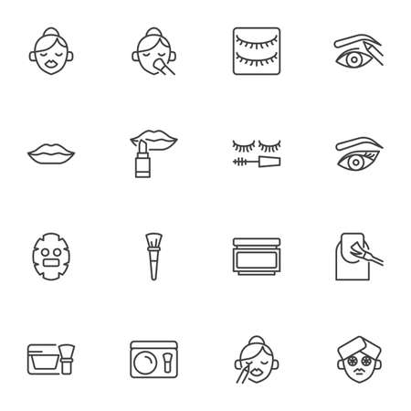 Make-up and cosmetic line icons set, outline vector symbol collection, linear style pictogram pack. Signs, logo illustration. Set includes icons as lipstick, eyeshadow, woman face, eyebrow, manicure Illusztráció