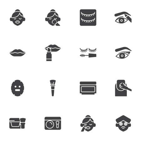 Make-up and cosmetic vector icons set, modern solid symbol collection, filled style pictogram pack. Signs, logo illustration. Set includes icons as lipstick, eyeshadow, woman face, eyebrow, manicure