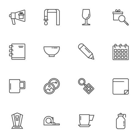 Promotional products line icons set, outline vector symbol collection, linear style pictogram pack. Signs, logo illustration. Set includes icons as advertising bullhorn, gift box, calendar, notebook