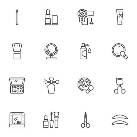 Beauty and makeup line icons set, outline vector symbol collection, make-up cosmetic linear style pictogram pack. Signs logo illustration. Set includes icons - moisturizer cream, perfume bottle, brush