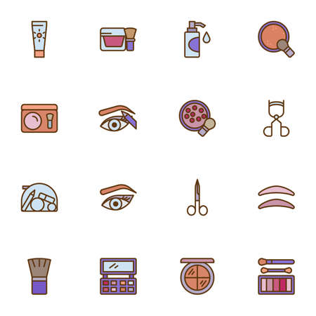 Cosmetic and make-up filled outline icons set, line vector symbol collection, linear colorful pictogram pack. Signs, logo illustration, Set includes icons as manicure scissors, eyebrows, lotion bottle Illusztráció