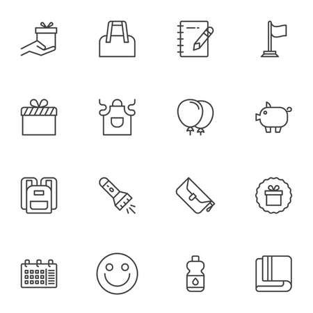 Promotional line icons set, outline vector symbol collection, linear style pictogram pack. Signs, logo illustration. Set includes icons as gift box bonus, shopping bag, water bottle, school bag, apron