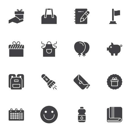Promotional vector icons set, modern solid symbol collection, filled style pictogram pack. Signs, logo illustration. Set includes icons as gift box bonus, shopping bag, water bottle, school bag, apron Foto de archivo - 150094509