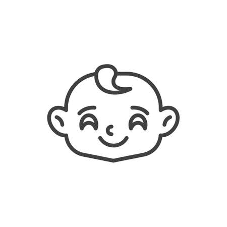 Happy baby face line icon. linear style sign for mobile concept and web design. Joyful child face outline vector icon. Symbol, logo illustration. Vector graphics