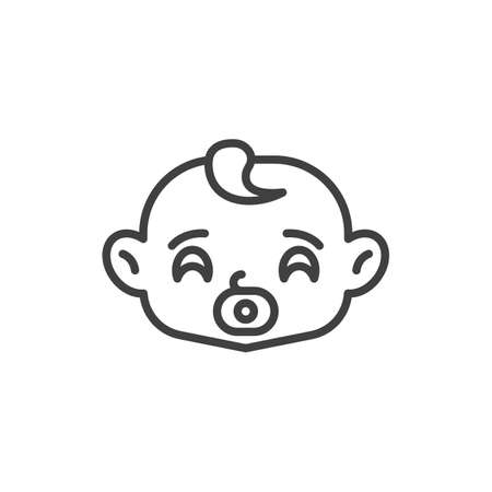 Baby sucks pacifier line icon. linear style sign for mobile concept and web design. Baby face with soother outline vector icon. Symbol, logo illustration. Vector graphics