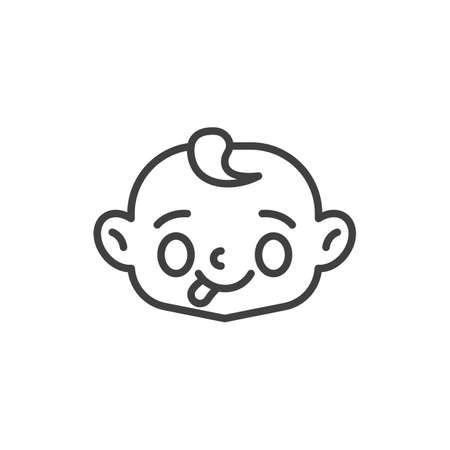 Baby face showing tongue line icon. linear style sign for mobile concept and web design. Child stuck out tongue outline vector icon. Symbol, logo illustration. Vector graphics