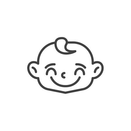 Joyful baby face line icon. linear style sign for mobile concept and web design. Happy child face outline vector icon. Symbol, logo illustration. Vector graphics Vettoriali