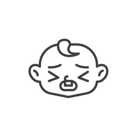 Tired baby face line icon. linear style sign for mobile concept and web design. Sick child face outline vector icon. Symbol, logo illustration. Vector graphics