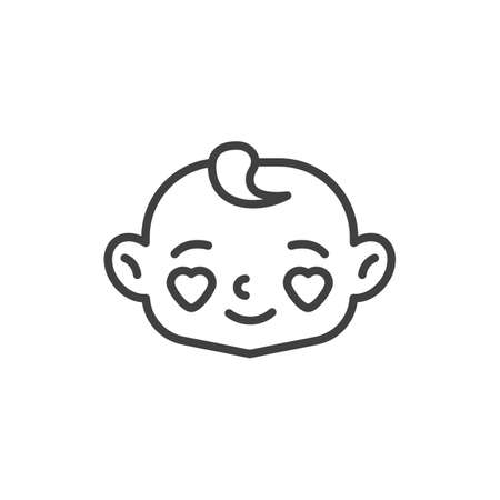 Baby face with heart eyes line icon. linear style sign for mobile concept and web design. Happy baby in love outline vector icon. Symbol, logo illustration. Vector graphics Vettoriali