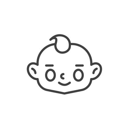 Happy baby boy face line icon. linear style sign for mobile concept and web design. Smiling child face outline vector icon. Symbol, logo illustration. Vector graphics