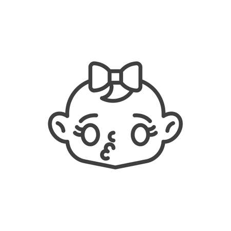 Baby girl blows kiss line icon. linear style sign for mobile concept and web design. Kissing baby face outline vector icon. Symbol, logo illustration. Vector graphics
