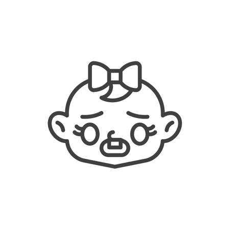 Frowning baby face with open mouth line icon. linear style sign for mobile concept and web design. Gloomy child face outline vector icon. Symbol, logo illustration. Vector graphics