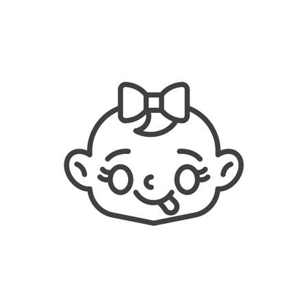 Baby Face Savoring Food line icon. linear style sign for mobile concept and web design. Baby girl stuck out tongue outline vector icon. Symbol, logo illustration. Vector graphics Vettoriali
