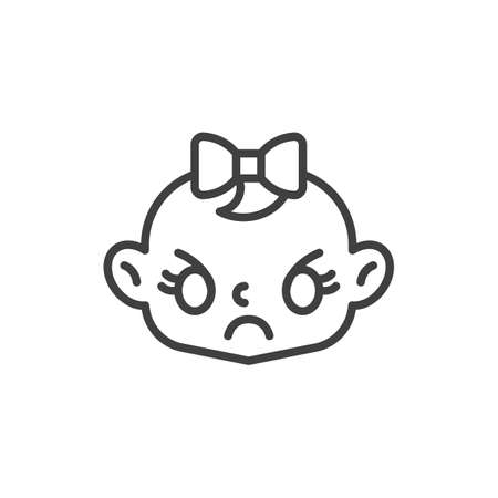 Angry baby girl face line icon. linear style sign for mobile concept and web design. Annoyed baby outline vector icon. Symbol, logo illustration. Vector graphics