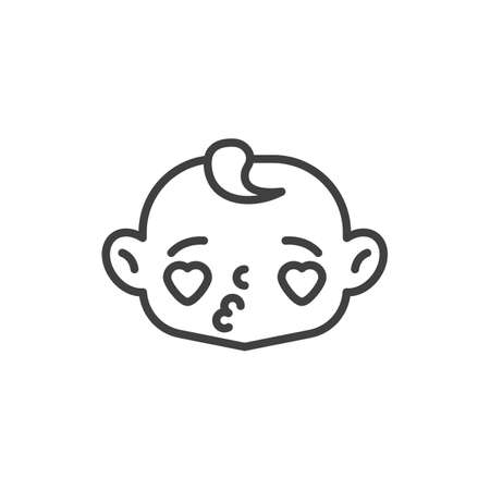 Child face with heart eyes line icon. linear style sign for mobile concept and web design. Baby blowing kiss outline vector icon. Symbol, logo illustration. Vector graphics