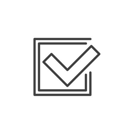 Approve, tick line icon. Confirmation linear style sign for mobile concept and web design. heck box with check mark outline vector icon. Symbol, logo illustration. Vector graphics Ilustrace