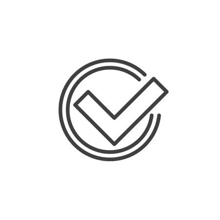 Rounded check mark line icon. linear style sign for mobile concept and web design. Approval, tick outline vector icon. Symbol, logo illustration. Vector graphics
