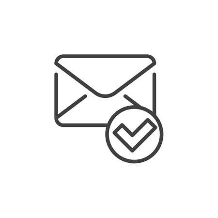 Confirmed message line icon. Received mail linear style sign for mobile concept and web design. Envelope and check mark outline vector icon. Symbol, logo illustration. Vector graphics  イラスト・ベクター素材