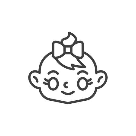 Happy baby girl face line icon. linear style sign for mobile concept and web design. Baby girl with bow outline vector icon. Symbol, logo illustration. Vector graphics