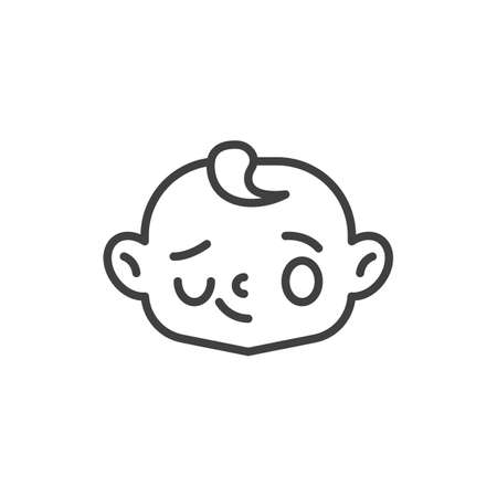 Winking baby face line icon. linear style sign for mobile concept and web design. Smiling and winking baby boy outline vector icon. Symbol, logo illustration. Vector graphics