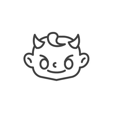 Smiling Face with Horns line icon. linear style sign for mobile concept and web design. Devil baby face outline vector icon. Symbol, logo illustration. Vector graphics