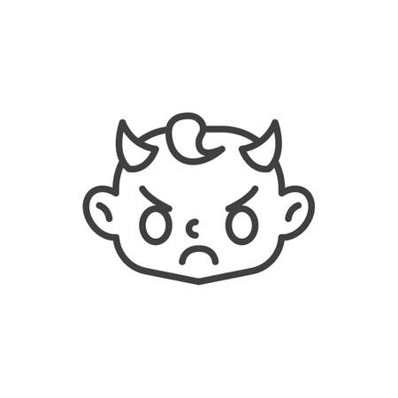 Angry baby Face with Horns line icon. linear style sign for mobile concept and web design. Evil child head outline vector icon. Symbol, logo illustration. Vector graphics