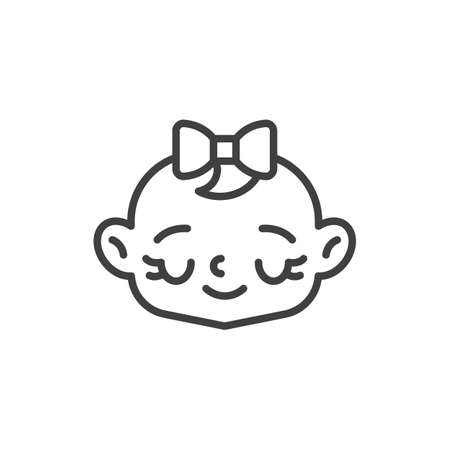 Happy baby girl face line icon. linear style sign for mobile concept and web design. Guilty baby face outline vector icon. Symbol, logo illustration. Vector graphics Vettoriali