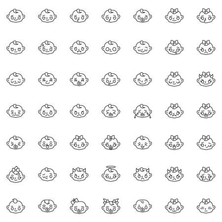 Baby face emotion line icons set. linear style symbols collection, outline signs pack. vector graphics. Set includes icons as smiling baby girl face, cry, sad, laughing, child in love, blowing kiss