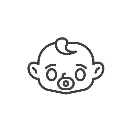 Baby face with pacifier line icon. linear style sign for mobile concept and web design. Baby sucks a pacifier outline vector icon. Symbol, logo illustration. Vector graphics