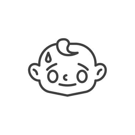 Baby face with sweat drop line icon. linear style sign for mobile concept and web design. Stressed child face outline vector icon. Symbol, logo illustration. Vector graphics
