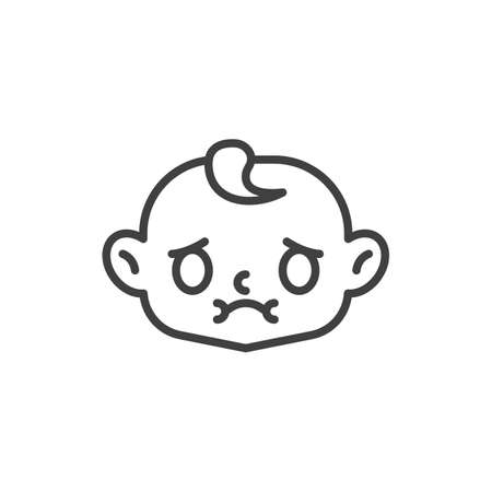 Nausea baby face line icon. linear style sign for mobile concept and web design. Sick child face outline vector icon. Symbol, logo illustration. Vector graphics