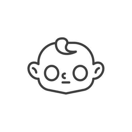 Baby face with big eyes line icon. linear style sign for mobile concept and web design. Open-eyed child face outline vector icon. Symbol, logo illustration. Vector graphics