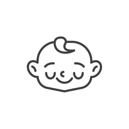 Shy baby face line icon. linear style sign for mobile concept and web design. Happy child face outline vector icon. Symbol, logo illustration. Vector graphics Vettoriali