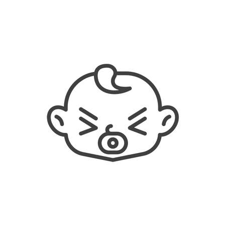 Baby with pacifier line icon. linear style sign for mobile concept and web design. Baby boy sucks soother outline vector icon. Symbol, logo illustration. Vector graphics Vettoriali