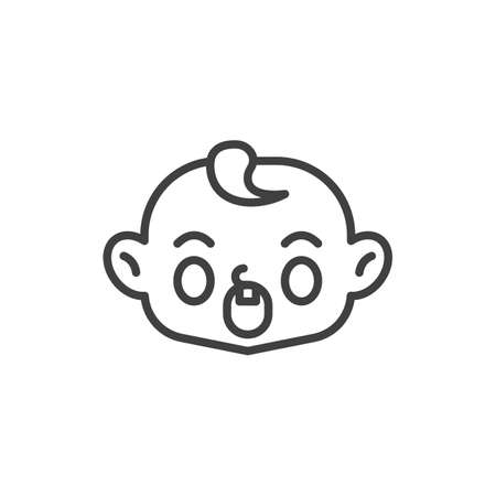 Anguished baby face line icon. linear style sign for mobile concept and web design. Screaming child face outline vector icon. Symbol, logo illustration. Vector graphics