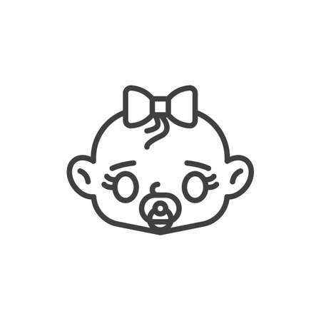 Baby girl with pacifier line icon. linear style sign for mobile concept and web design. Baby girl sucks soother outline vector icon. Symbol, logo illustration. Vector graphics