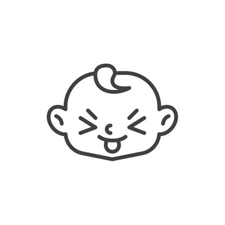 Squinting Face with Tongue line icon. linear style sign for mobile concept and web design. Child stuck out tongue outline vector icon. Symbol, logo illustration. Vector graphics