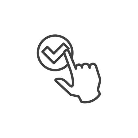 Click select, line icon. Approve check linear style sign for mobile concept and web design. Choose, check mark outline vector icon. Symbol, logo illustration. Vector graphics