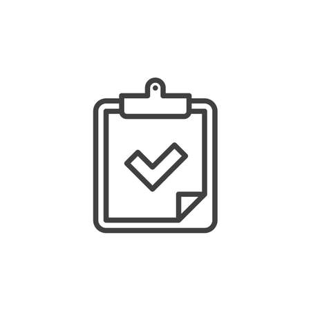 Checklist checkmark line icon. linear style sign for mobile concept and web design. Paper clipboard with check mark outline vector icon. Symbol, logo illustration. Vector graphics