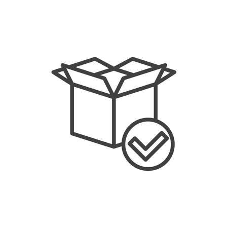 Package delivered line icon. Received parcel linear style sign for mobile concept and web design. Package box with check mark outline vector icon. Symbol, logo illustration. Vector graphics  イラスト・ベクター素材