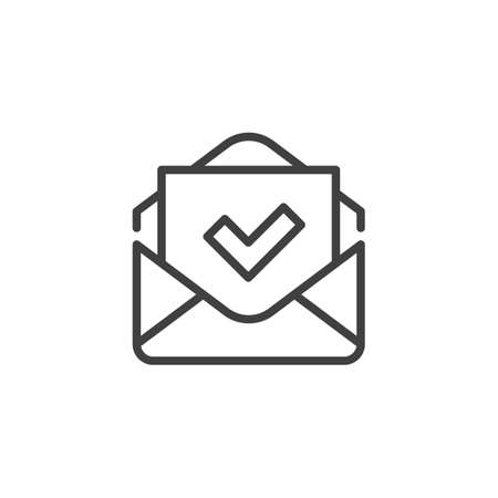 Received mail line icon. Envelope and check mark linear style sign for mobile concept and web design. Confirmed message outline vector icon. Symbol, logo illustration. Vector graphics