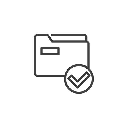 Folder with check mark line icon. linear style sign for mobile concept and web design. Approved file folder outline vector icon. Symbol, logo illustration. Vector graphics Vectores