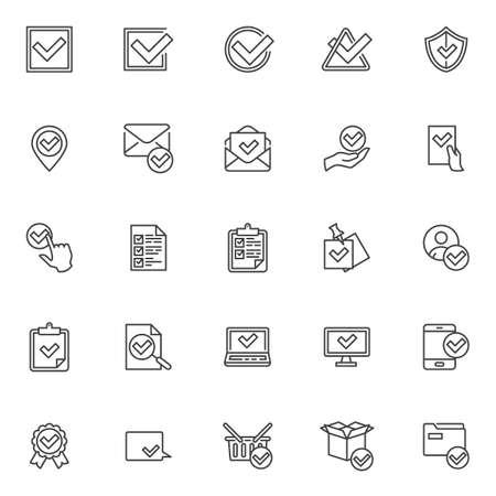 Confirmation, approval line icons set. Check mark linear style symbols collection, outline signs pack. vector graphics. Set includes icons as received message, checklist document, certified badge  イラスト・ベクター素材