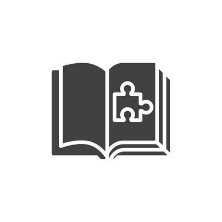 Puzzle book vector icon. filled flat sign for mobile concept and web design. Book page with puzzle glyph icon. Symbol, logo illustration. Vector graphics Illusztráció