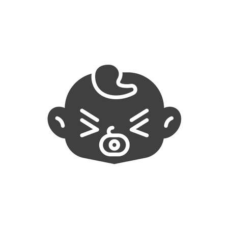 Baby with pacifier vector icon. filled flat sign for mobile concept and web design. Baby boy sucks soother glyph icon. Symbol, logo illustration. Vector graphics