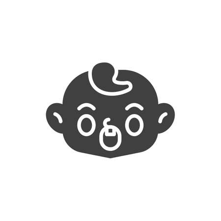 Anguished baby face vector icon. filled flat sign for mobile concept and web design. Screaming child face glyph icon. Symbol, logo illustration. Vector graphics