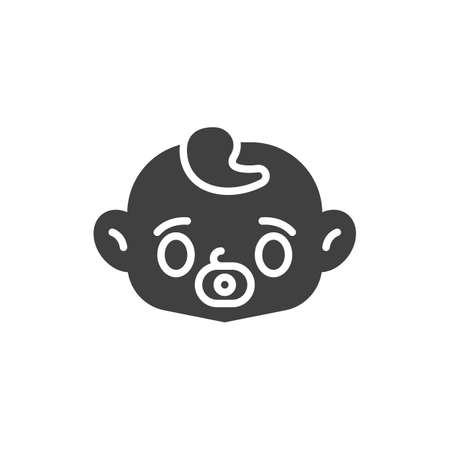 Baby face with pacifier vector icon. filled flat sign for mobile concept and web design. Baby sucks a pacifier glyph icon. Symbol, logo illustration. Vector graphics