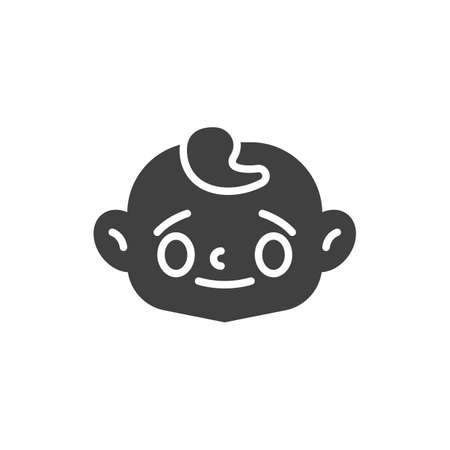 Baby face with sweat drop vector icon. filled flat sign for mobile concept and web design. Stressed child face glyph icon. Symbol, logo illustration. Vector graphics