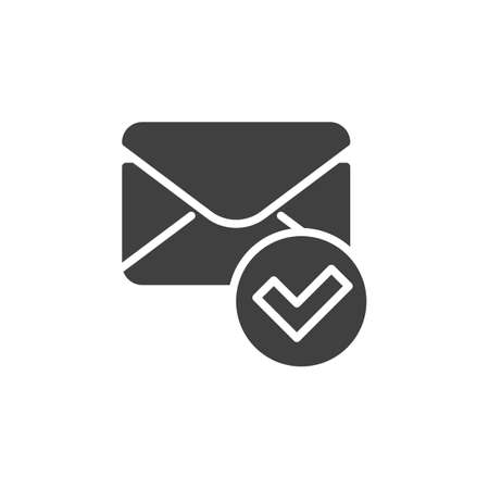 Confirmed message vector icon. Received mail filled flat sign for mobile concept and web design. Envelope and check mark glyph icon. Symbol, logo illustration. Vector graphics